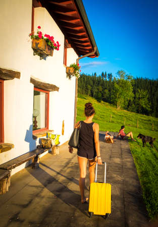 vacationer: Teenager in summer time at Basque Country Spain Europe