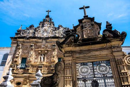depictions: Ornamented gate of the Bonfirm church in the Pelourinho, Salvador da Bahia, Brazil