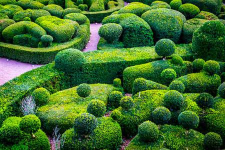 Marqueyssac, France - July 20, 2016: gardens of the castle of Marqueyssac in Dordogne Valley
