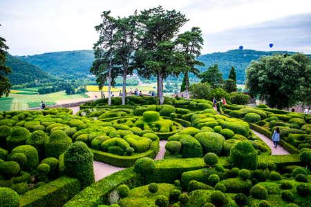 hedging: Marqueyssac, France - July 20, 2016: gardens of the castle of Marqueyssac in Dordogne Valley
