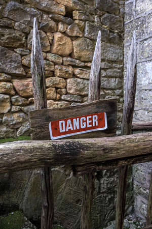 Danger area in a rustic construction in France Stock Photo