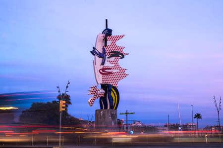 roy: Barcelona, Spain - February 29, 2016: El Cap de Barcelona or La Cabeza de Barcelona sculpture of Roy Lichstenstein in Barcelona Catalonia Spain