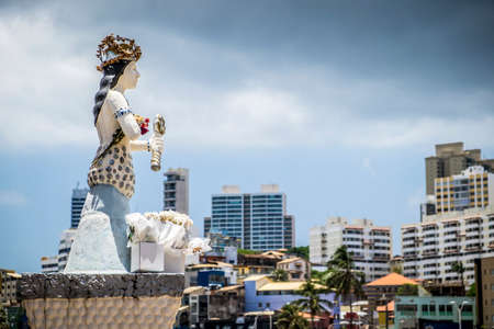 Salvador, Brazil - October 27, 2016: The sculpture of the mermaid represents Yemanja the goddes of salt waters bulit by Manoel Bofim