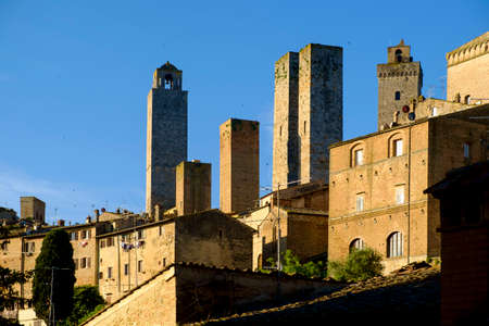 San Gimignano is a small medieval hill town in Tuscany, Italy Stock Photo