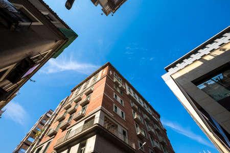 Four buildings in Gracia district in Barcelona Catalonia Spain