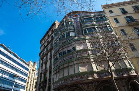 Barcelona, Spain - March 3, 2017: Casa Comalat by Salvador Valeri i Pupurull modernist architect Editorial