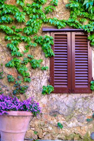 Detail in the medieval town of Monteriggioni Tuscany Italy Eurooe Stock Photo