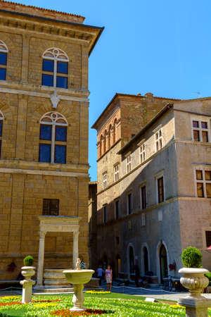 Pienza, Italy - May 9, 2014: Piazza Pio II square  in Pienza Tuscany Italy Europe Banco de Imagens - 77203669