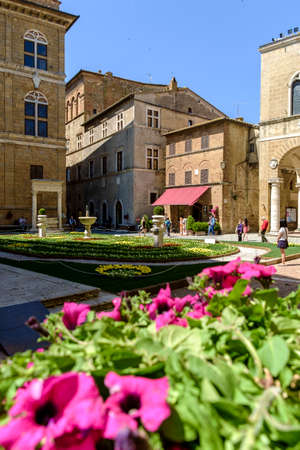 Pienza, Italy - May 9, 2014: Piazza Pio II square  in Pienza Tuscany Italy Europe Banco de Imagens - 77203731