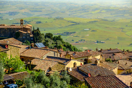 fortezza: Montalcino, Italy - May 10, 2014: Panoramic of the city from Fortezza di Montalcino castle