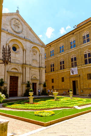 Pienza, Italy - May 9, 2014: Piazza Pio II square  in Pienza Tuscany Italy Europe