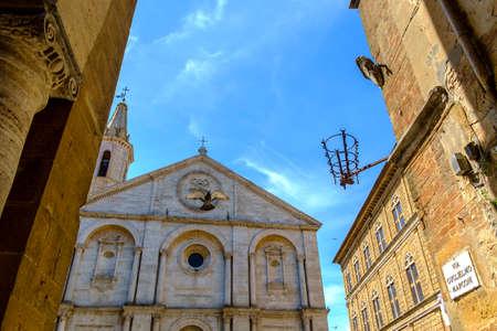 Piazza Pio II square in Pienza Tuscany Italy