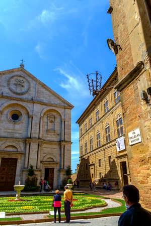 May 10, 2014 - Pienza, Italy: Piazza Pio II in Pienza Tuscany Italy Banco de Imagens - 78037953