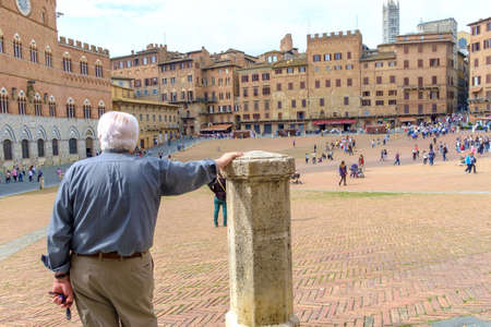 Siena, Italy - May 11, 2014:   Piazza del Campo in Siena