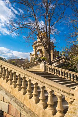 Fountain cascade designed by Josep Fontsere in Ciutadella Park in Ciutat Vella Barcelona Catalonia Spain