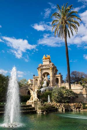 Barcelona, Spain - March 3, 2016: Fountain cascade designed by Josep Fontsere in Ciutadella Park in Ciutat Vella Barcelona Catalonia Spain