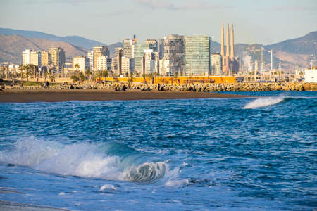 Barcelona, Spain - March 3, 2016:  panoramic view of the beach from Barceloneta