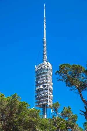 ir: Collserola Tower or Torre de Collserola is located on Tibidabo hill in the Serra de Collserola, in Barcelona Catalonia Spain Stock Photo