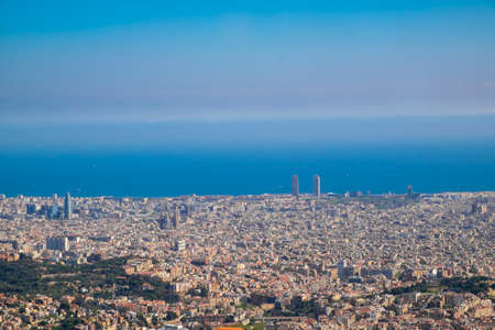 tibidabo: Panoramic view of the Catalan capital from Tibidabo mountain Stock Photo