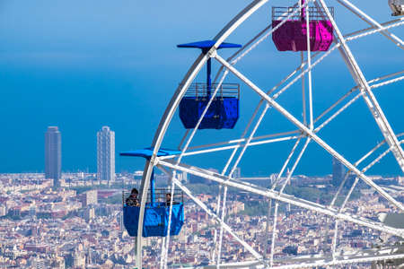tibidabo: Barcelona, Spain - April 6, 2016: Ferry wheel at Tibidabo amusement park, Barcelona, Catalonia, Spain Editorial