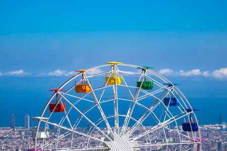 Barcelona, Spain - April 6, 2016: Ferry wheel at Tibidabo amusement park, Barcelona, Catalonia, Spain Editorial