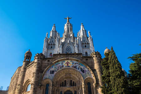 catholicism: Barcelona, Spain - April 6, 2016: Expiatory Church of the Sacred Heart on the Tibidabo, Barcelona, Catalonia, Spain Editorial