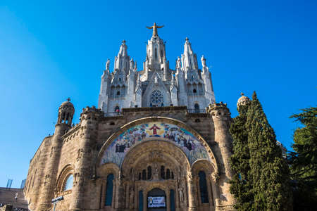 Barcelona, Spain - April 6, 2016: Expiatory Church of the Sacred Heart on the Tibidabo, Barcelona, Catalonia, Spain Editorial
