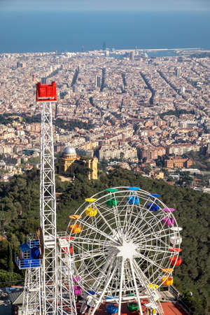 western european: Barcelona, Spain - April 6, 2016: Panoramic view of Barcelona from Tibidabo mountain