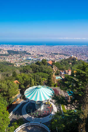 Barcelona, Spain - April 6, 2016: Panoramic view of the Catalan capital from Tibidabo mountain