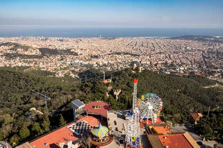 tibidabo: Barcelona, Spain - April 6, 2016: Panoramic view of Barcelona from Tibidabo mountain