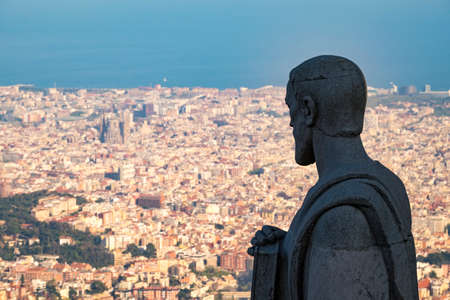 Panoramic view of Barcelona from Tibidabo mountain