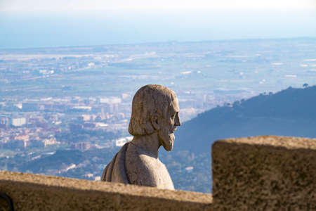 Panoramic view from Expiatory Church of the Sacred Heart on the Tibidabo, Catalonia, Spain Stock Photo