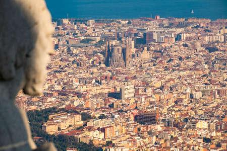 tibidabo: Panoramic view of Barcelona from Tibidabo mountain