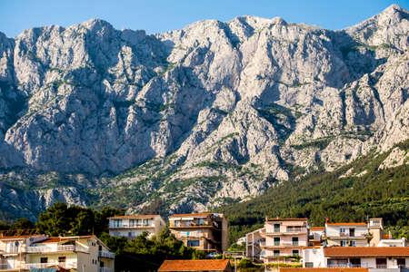 dalmatia: Panoramic of Makarska city and Biokovo Natural Park in Croatia