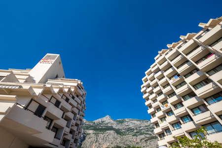 dalmatia: Makarska, Croatia - May 29, 2017: Panoramic of Makarska city and Biokovo Natural Park in Croatia Editorial