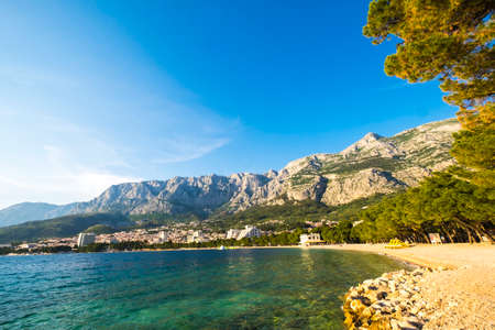 Beach in Makarska Rivera in Croatia Europe 版權商用圖片