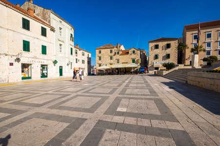 dalmatia: Makarska, Croatia - May 30, 2017: Main square, Makarska, Dalmatia, Croatia