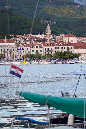 balkans: Makarska, Croatia - May 29, 2017: View of Makarska, one of the most beautiful villages in Dalmatia