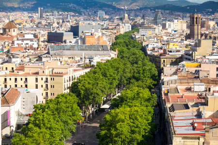 View of Las Ramblas in Barcelona Catalonia Spain