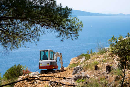 deforestacion: Brac, Croatia- June 1, 2017: Deforestation in the Dalmatian coast in Croatia Europe