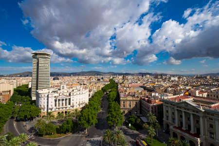 ramblas: Barcelona, Spain - June 28, 2017:  View of Las Ramblas in Barcelona Catalonia Spain Editorial
