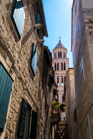 Narrow Street in Alley at Diocletians Palace in Split Old Town Dalmatia