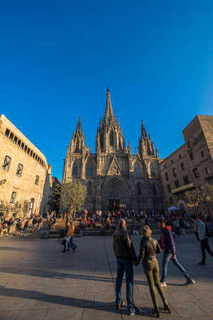 Barcelona, Spain - February 20, 2017: tourism in the Cathedral, one of the most visited landmarks in the city