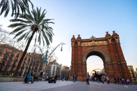 Barcelona, Spain - February 20, 2017: Arch of Triumph with modernism style in Barcelona