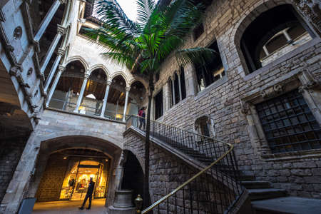 pablo picasso: Barcelona, Spain - February 20, 2017: Entrance to Museu Picasso Museum in the Born Quarter Barcelona Spain