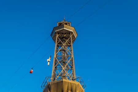 catalunya: Torre Jaume tower cable car in the port of Barcelona Catalonia Spain