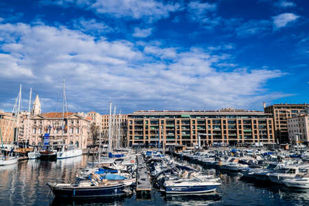Marseille, France - March 7, 2017: Old harbor, Vieux Port, in Marseille, one of the most important landmarls in the city