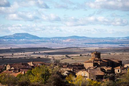 Countryside landscape around the village of Castilfrio de la Sierra in the province of Soria in Spain 스톡 콘텐츠