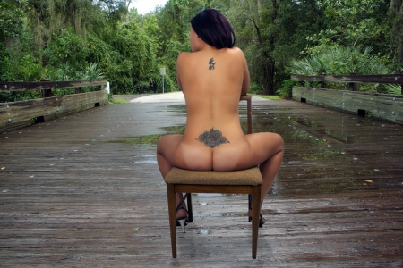 A beautiful nude woman with tattoos sits in a chair with her back to the camera on a wooden bridge on a rainy day. photo