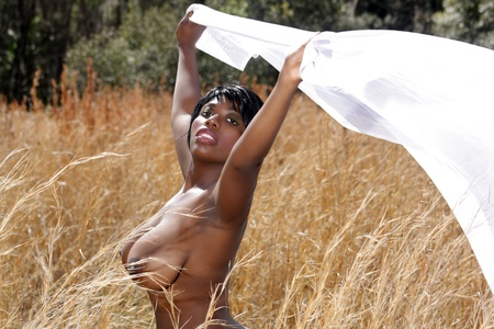 A lovely young, nude model stands in a field of tall grass, holding light white fabric blowing in the breeze